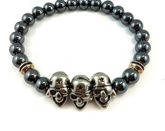 Pirate Skull Stainless Steel Hematite Bracelet, Silver, Gunmetal, Healing Bracelet, Goth, Punk, Tierracast accents, Christmas, Birthday Gift