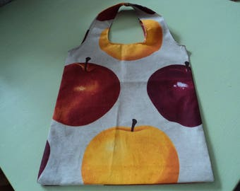 original tote bag in pure cotton patterned apples