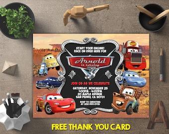 Disney Cars Invitation, Disney Cars Birthday, Disney Cars Invites, Disney Cars Party Printables, Disney Cars Theme, FREE 4x6 Thank You Card