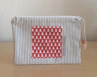 Cosmetic case - pouch-cotton bag women size 21 x 15