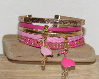 "leather pink, gold and fuchsia - charms Flemish cuff rose ""pink flamingos of dance"""