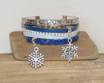 Cuff Bracelet, multi-row, blue, white, blue, silver, for teens, charms, leather, snow flake glitter, suede