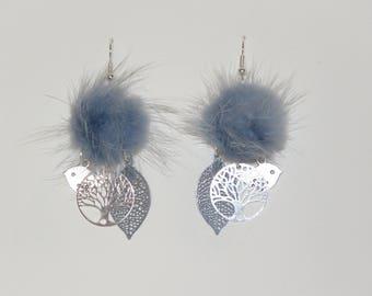 """Earrings, tassel blue fur, tree of life prints, leaves, birds """"earrings Poumpoumpidou"""" Pimprenellecreations"""
