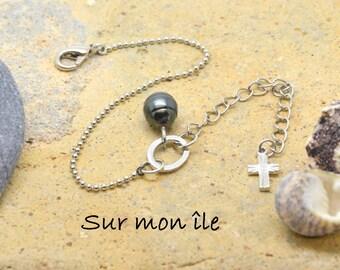 Cross silver Tahitian pearl bracelet