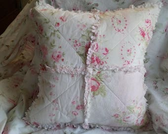 VERY PRETTY LARGE CUSHION SHABBY CHIC PASTEL PATCHWORK