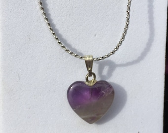 Amethyst Heart Pendant w/18 in Sterling Silver chain