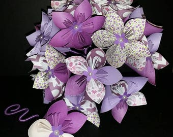 Example set 15 origami paper Flower Bouquet purple and white & boutonniere