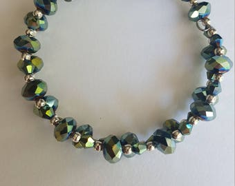 Green/Multicolor Memory Wire Bracelet and Beaded Earring Set