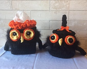 crocheted halloween owl bathroom decorations set beautiful handmade gifts toilet roll tissue box - Halloween Bathroom Decorations