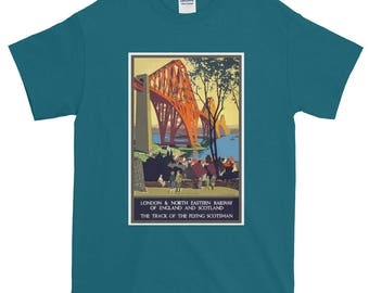Vintage Travel Poster T-Shirt The Flying Scotsman Forth Bridge