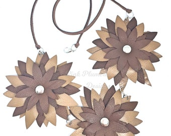 Leather Flower Necklace, Wearable Art Jewelry, Lightweight Statement Necklace