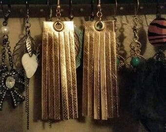 Gold {Faux} Leather Tassel Fringe Earrings