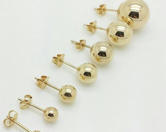 14K Yellow Gold High Polish Ball Stud Earrings