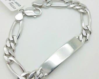 "925 Solid Sterling Silver Figaro ID Bracelet 8.5"" 9mm"