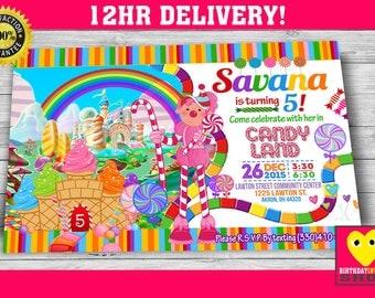 Candyland Birthday Invitation, Candyland Invite, Candyland Invitaion, Candy land , Candyland bday, Candyland Card