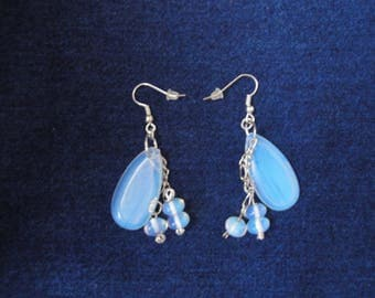 RESIN DROP EARRINGS Light Pearlescent Blue SIlver Long Chain