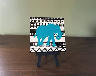 """Tribal Elephant 4"""" x 4"""" canvas painting with easel"""