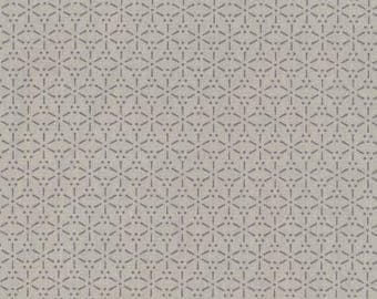 Oilcloth in beige and grey coated cotton with Japanese pattern Sakura for making tablecloth