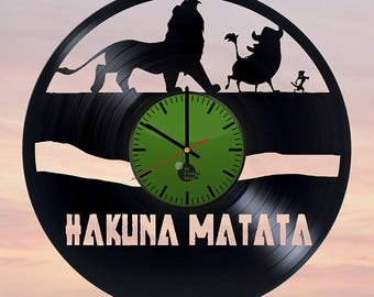 Hakuna Matata Lion King Vinyl Record Wall Clock