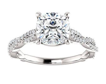 Forever One Moissanite Engagement Ring- Katherine | cushion | infinity band moissanite solitaire engagement ring