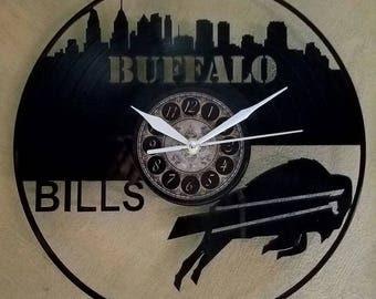 BUFFALO BILLS vinyl record clock