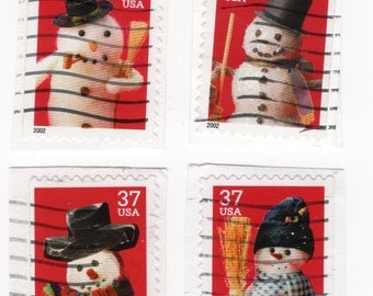 Holiday Snowmen US Postage Stamps (4). Used - On Paper - Scott 3688-3691