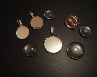 Kit set pendant, ring, Silver Earring with 25,18 mm cabochons