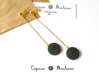 Earrings - leather Green Khaki