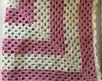 Pink Crochet Baby Blanket/Baby Afghan/Pram Blanket/Childrens Blanket