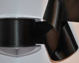 double faced 100 mm black satin ribbon / 10 cm, sold by the yard