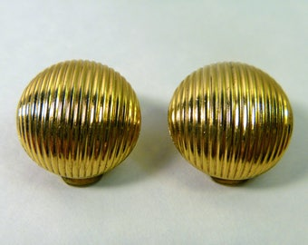 1960s NAPIER Vintage Clip On Earrings Gold Tone costume jewelry round gold button