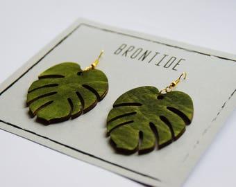 Monstera Earrings - Tropical  Leaf Earrings - Botanical Earrings - Wooden Earrings - Statement Earrings - Leaf Dangle Earrings
