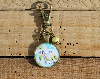 Door keys decorating bag accessory - * the spice of life - Cactus - bronze - star fashion - round cabochon - Creation to offer