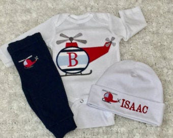 Newborn Boy coming home outfit, Monogrammed Coming Home Outfit