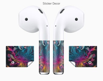 AirPods Stickers, Abstract, Flower, 2-Sets, Wraps, Skin, Cover, Decal