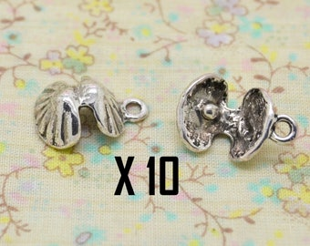 10 charms oyster shell Pearl metal silver 3D