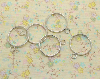 5 x support ring adjustable silver metal with 1 ring
