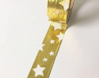 Shiny washi tape gold with transparant stars // Decoration Gift wrapping Shiny Masking Bullet Journal See through Golden Wedding Engagement