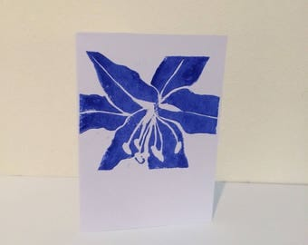 Block print card with Lily design