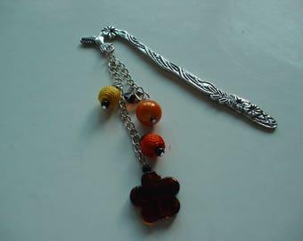 Bookmark metal and orange beads
