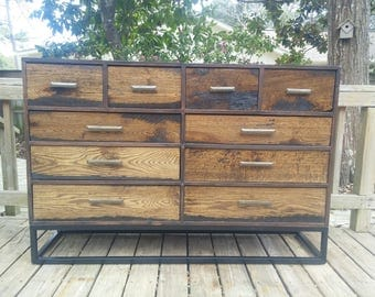 reclaimed wood dresser metal base free shipping