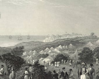 Encampment of Ibrahim Pasha, Near Jaffa, Palestine 1841 - Old Antique Vintage Engraving Art Print - Boats, Tents, Palm, Cactus, Sea, Ship