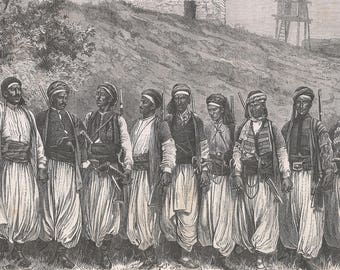 The Dance of the Ansarians, Syria 1880 - Old Antique Vintage Engraving Art Print - Men, Swords, Rifles, Hills, Grass, Brick, House, Dancers