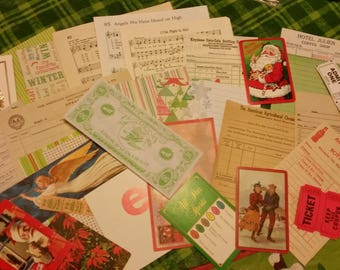 Vintage Christmas Ephemera Pack / 30 Pieces / Vintage Coca Cola Receipts / Collage pack/Paper ephemera lot/ junk journal pack / pen pal lot