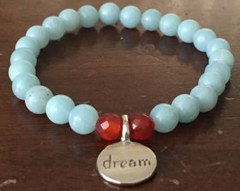 Amazonite & Orange Agate Stretch Bracelet with Sterling Silver Dream Charm
