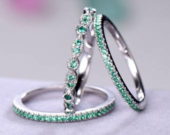 3pcs Half eternity wedding band Wedding ring sets sterling silver with white/rose/yellow gold plated Green CZ Cubic Zircon 925 silver ring