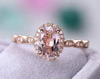 Rose Gold Pink Morganite Engagement Ring CZ Diamond Halo Wedding Art Deco Women Bridal Set Oval Cut Antique Anniversary Gift for Her Promise