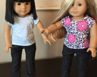 "T-Shirt and jeans for 18"" dolls such as American Girl"