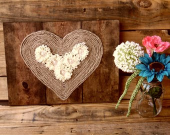Rustic Sign with Burlap Heart Rope