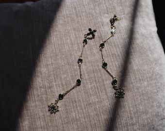 Emerald Cross/Statement earring/Long Dangle earring/Drop Earring/Cross Earring/Crystal earring/Green gold tone earring/Vintage earring /Gift